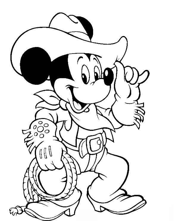 Mickey Mouse Wear Costum Cowboy Coloring Pages Mickey Mouse