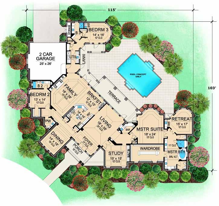 Luxury Style House Plans - 5108 Square Foot Home, 1 Story, 3 ...