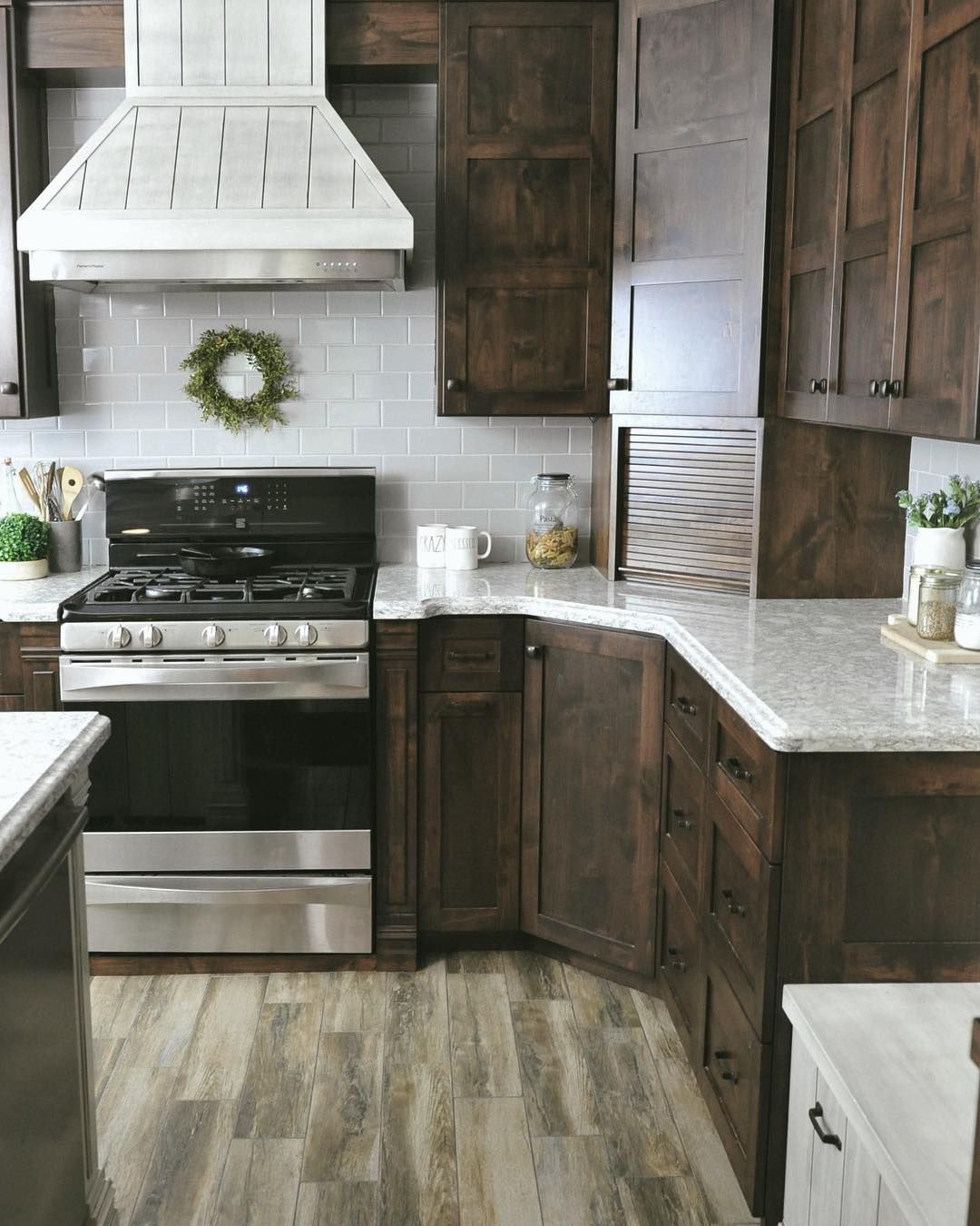 Pin By Tina Taylor On Shiplap: Dark Alder Custom Cabinets With Quartz Countertops And