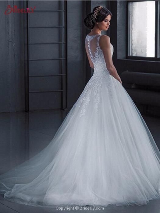Glamorous Lace Tulle Ball Gown Wedding Dresses #tulleballgown
