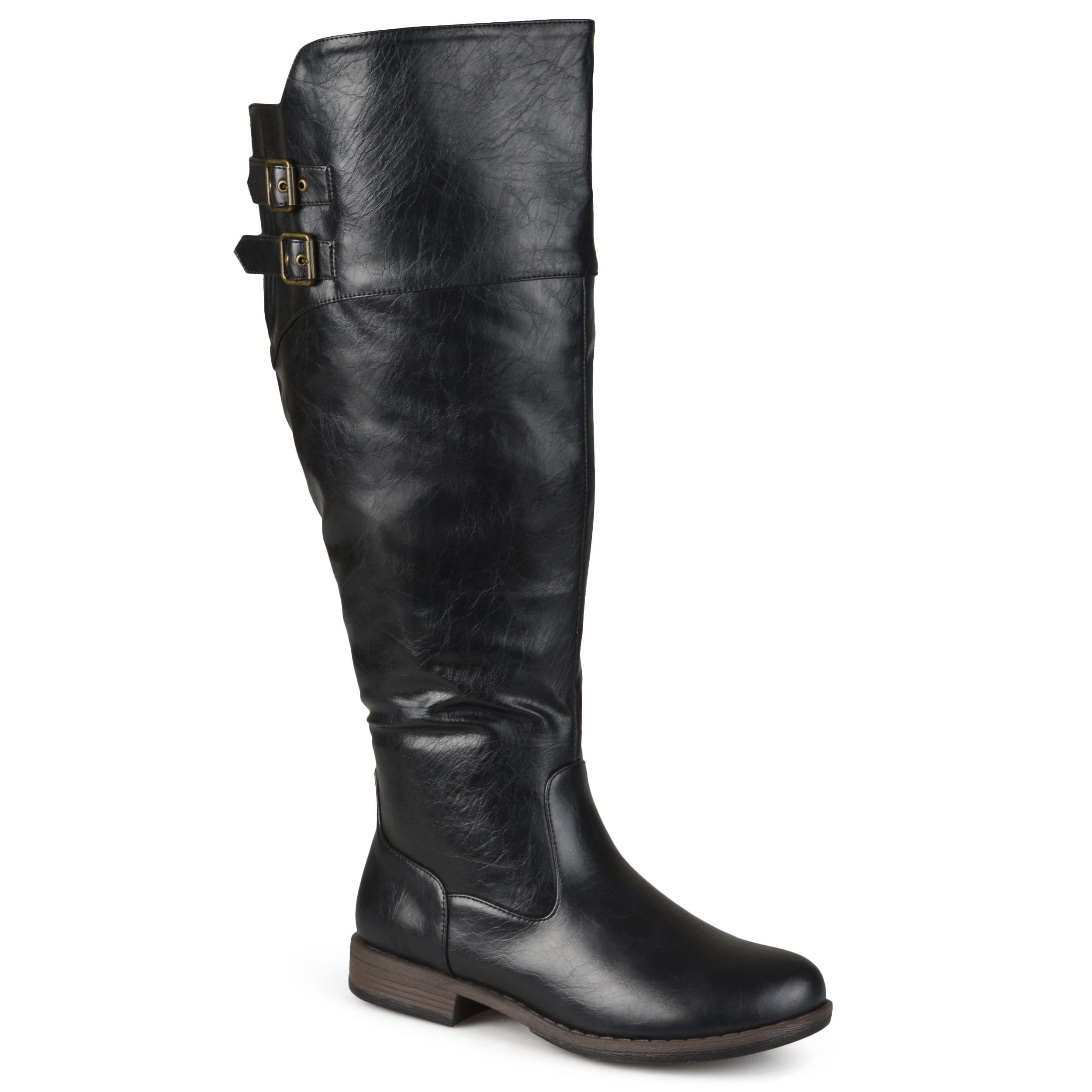Journee Collection Womens Regular Sized and Wide-Calf Double-Buckle  Knee-High Riding Boot Height: Knee-high Heel height/type: block Platform  height: inches ...