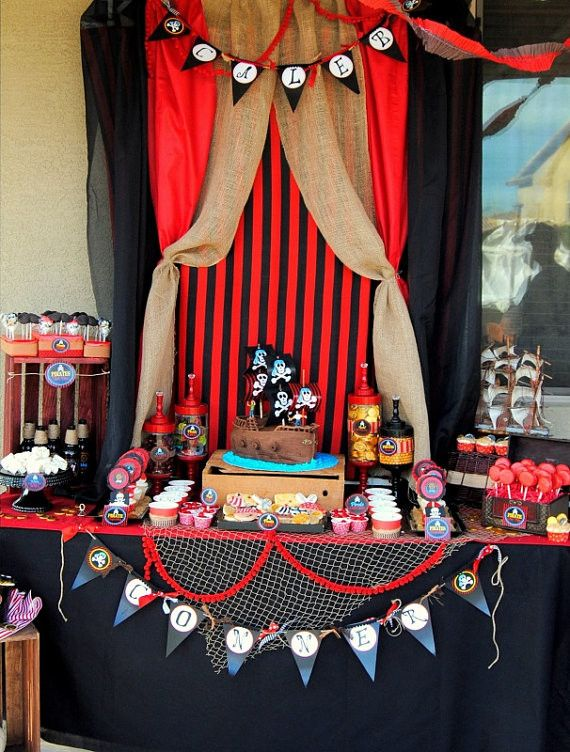 PIRATE Party - Pirate Birthday Party - Pirate COMPLETE- Red Pirate