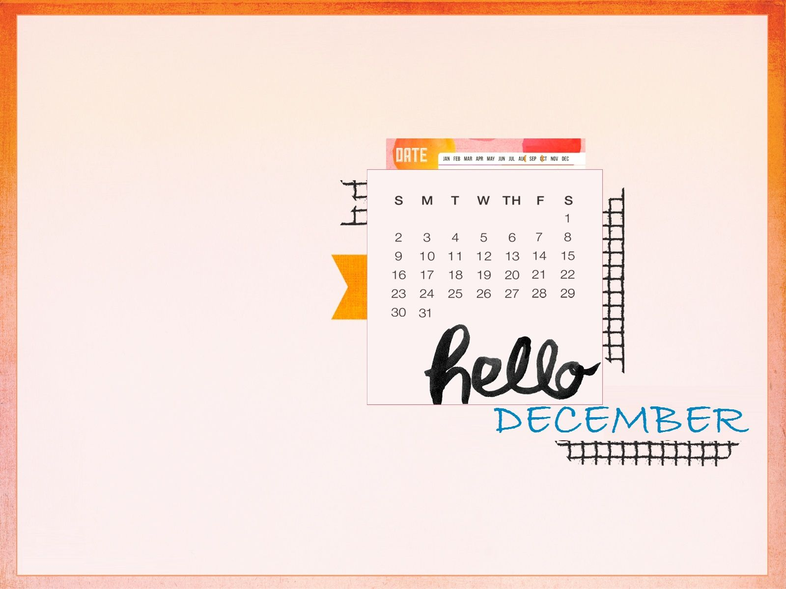 Hello December 2018 Desktop Calendar Desktop calendar