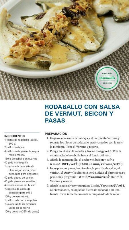 Rodaballo Con Salsa De Vermut Beicon Y Pasas Guiso De Pescado Pescado Thermomix Pescados Y Mariscos