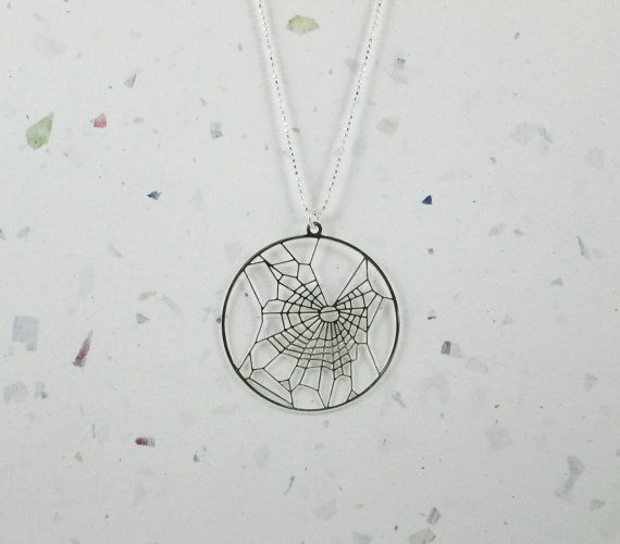 Spider web under influence of marijuana THC necklace by Delftia -- Jewelry for scientists, nerds and geeks of all kinds!