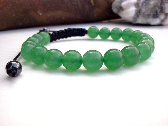 Jade Men Bracelet Green Cord For S Jewelry Cotton Gemstone Beaded On Etsy 17 90