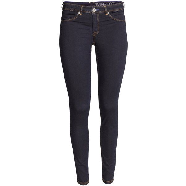 Feather Soft Low Jeggings $29.99 ($30) ❤ liked on Polyvore featuring pants, leggings, low rise pants, denim trousers, low rise leggings, denim pants and blue leggings