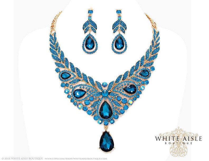 Blue Zircon Wedding Jewelry Set, Crystal Statement Necklace Earrings ...