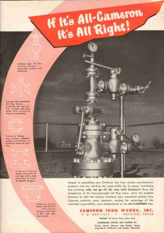 Cameron Iron Works 1951 Oil Gas Well Drilling Xmas Tree Vintage Ad Oil And Gas Well Drilling Vintage Ads