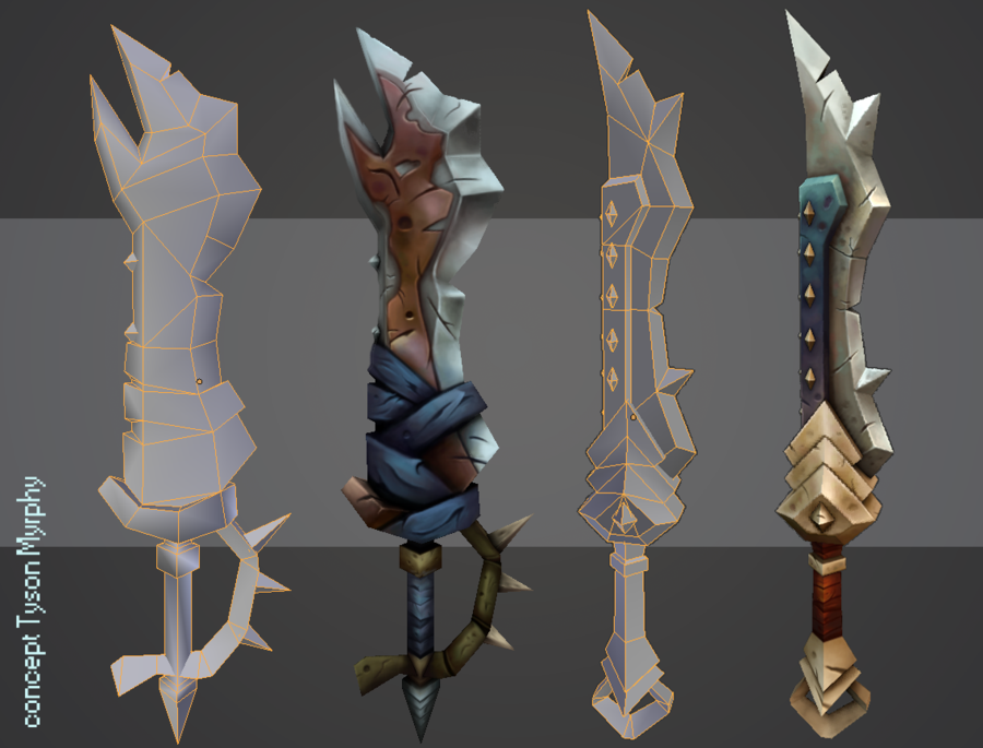 Hand Painted Weapons by ricedeviantart on DeviantArt