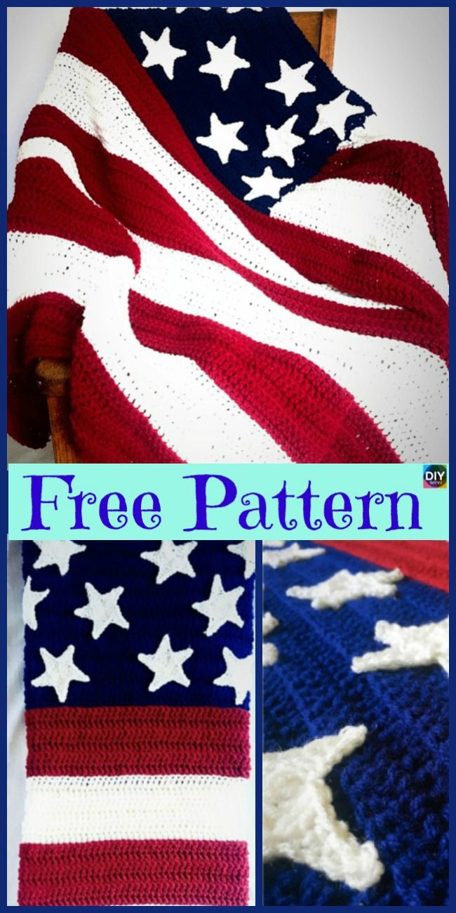 6 Unique Crochet American Afghan Free Patterns