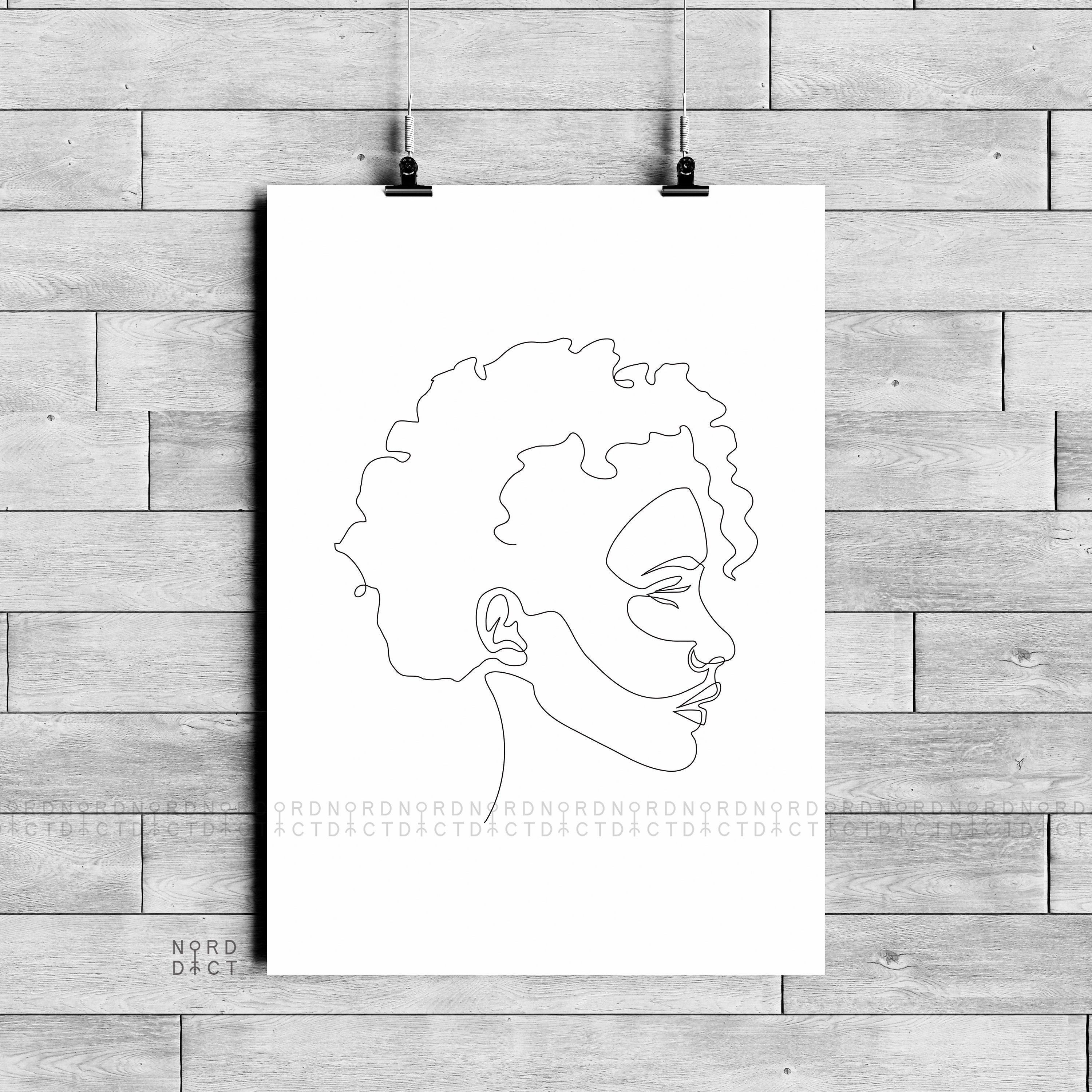 One Line Woman With Afro Minimalist Feminine Illustration Simple African Girl Art Black Beauty Printable Sketch Beautiful Curly Haired Small Canvas Art Geometric Art Art