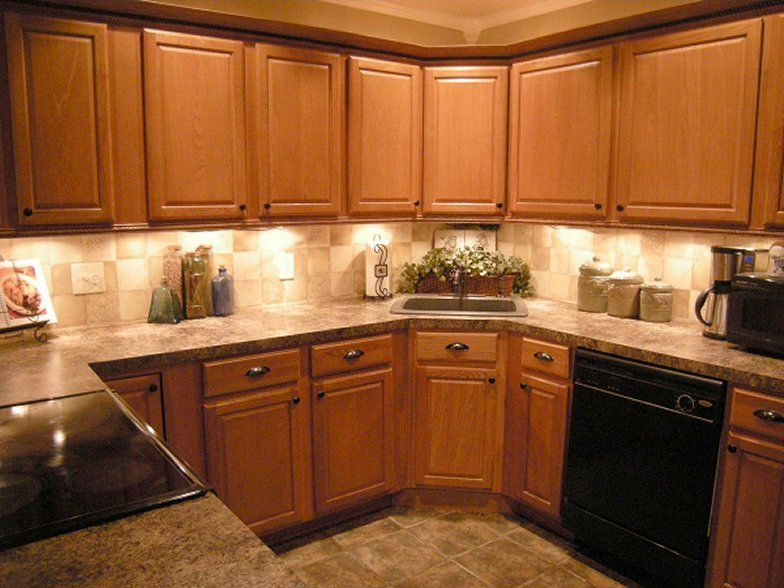 Backsplash Ideas For Oak Cabinets | Much better- but it was ...