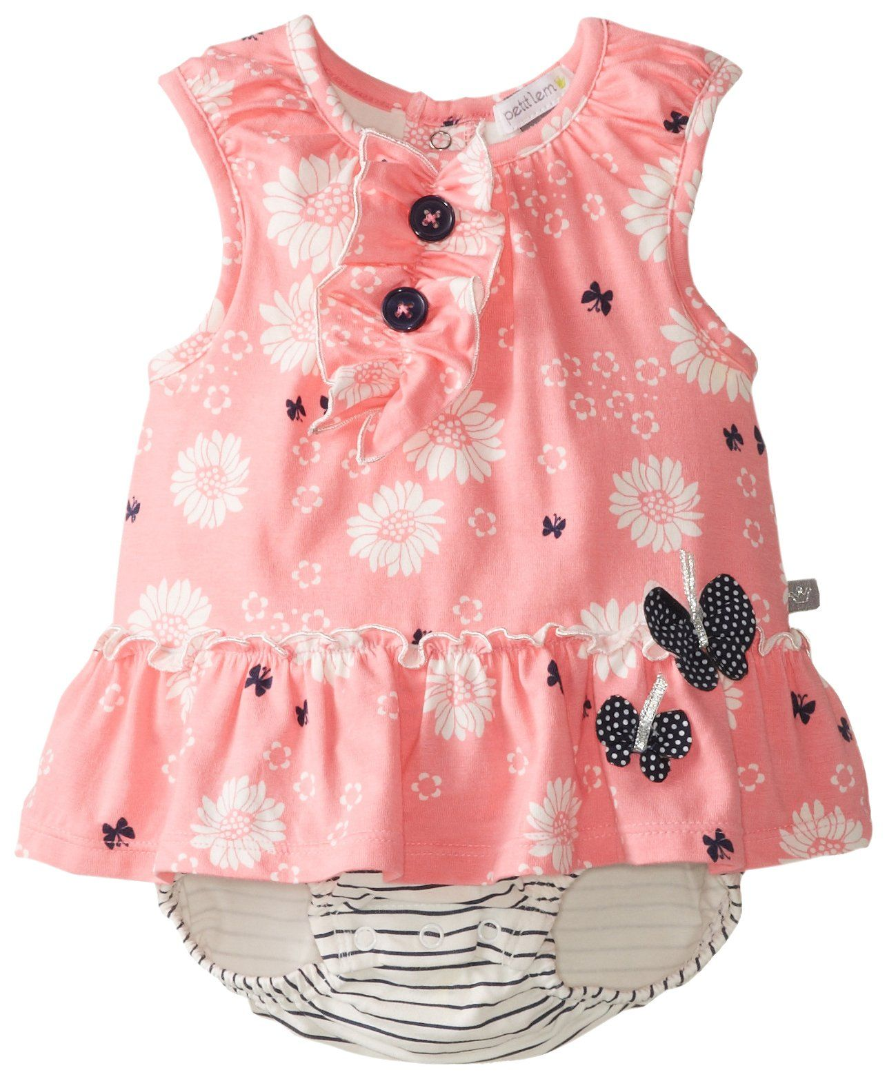 Petit Lem Baby Girls Newborn Summer Souvenir Dress Romper Pink