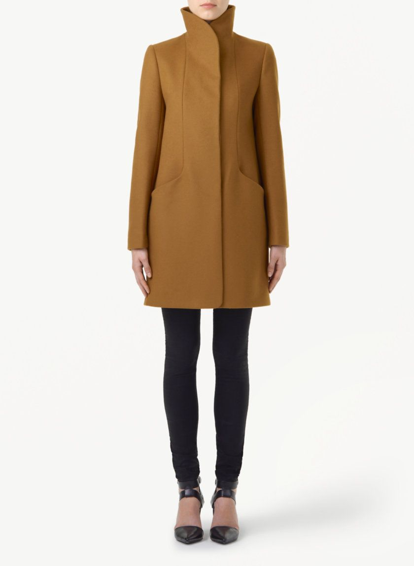 WILFRED COCOON WOOL COAT - Minimalist outerwear made with ...