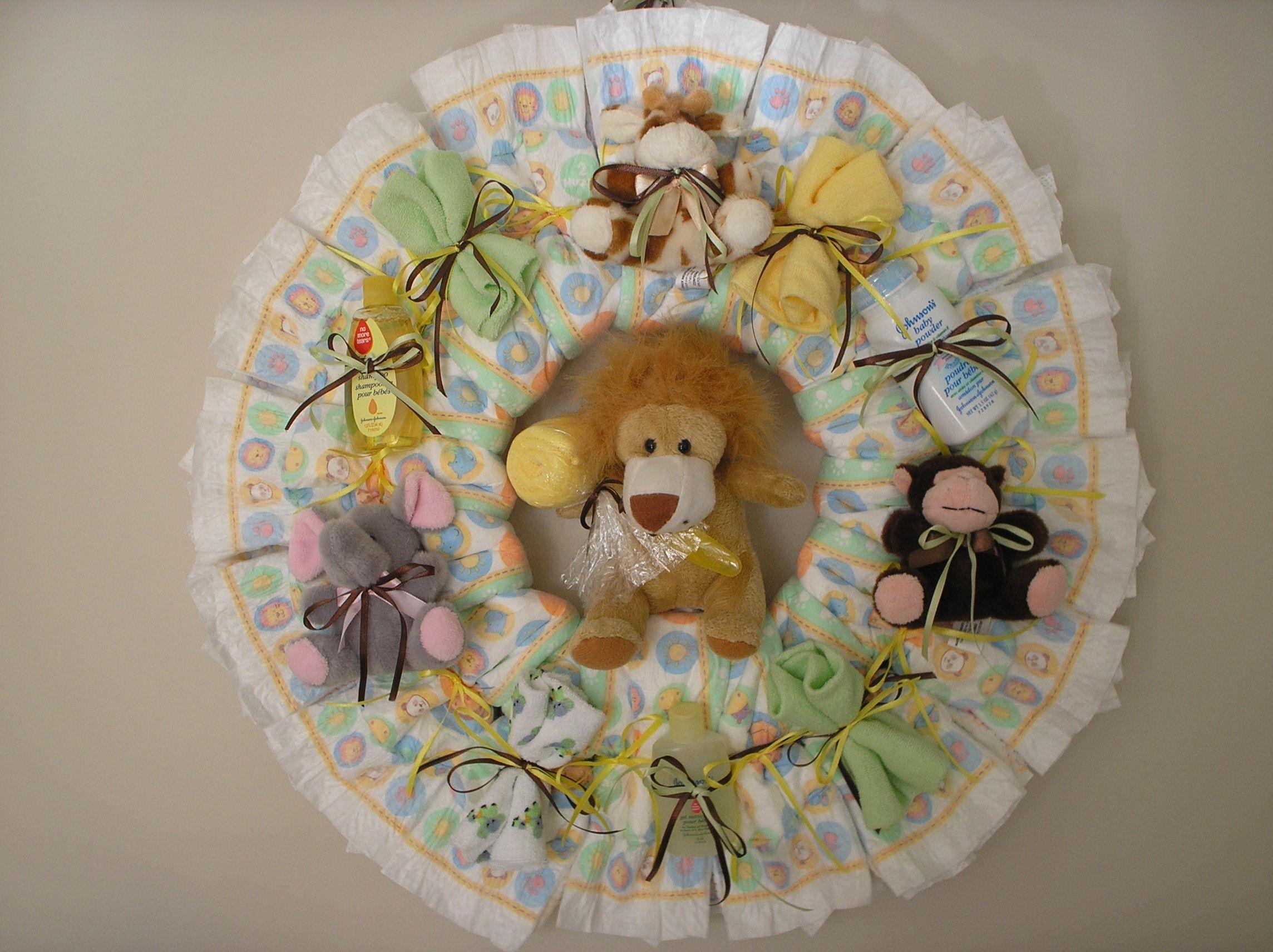 Homemade baby shower favors diaper wreath zoo animal diaper baby boy shower negle Choice Image
