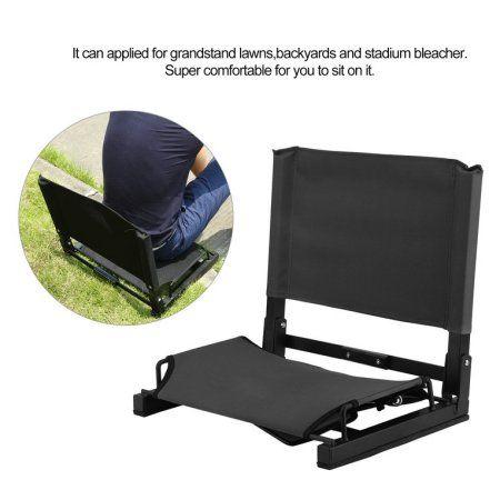 Padded Folding Portable Sports Seats Black Stadium Bleacher Cushion Chair