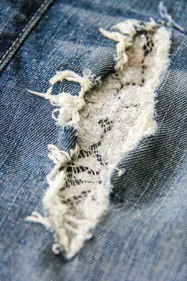 how to patch holes in jeans with lace