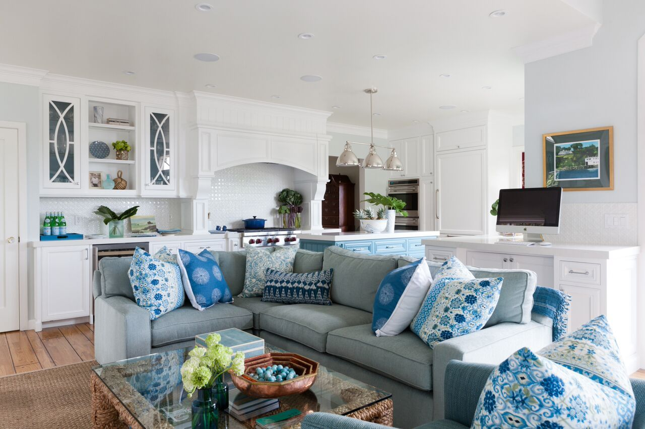 Beautiful living room and kitchen decor in shades of blue and green ...