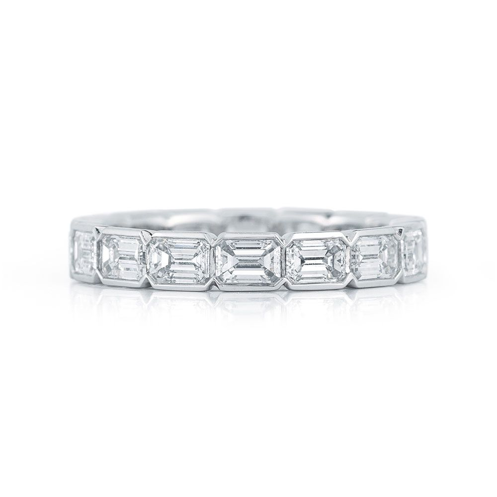 by kwiat emerald cut diamond eternity band in a half bezel