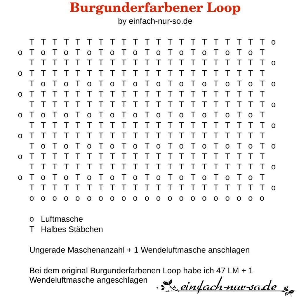 Anleitung Burgunderfarbener Loop   Nacharbeiten, Anleitungen und Freuen