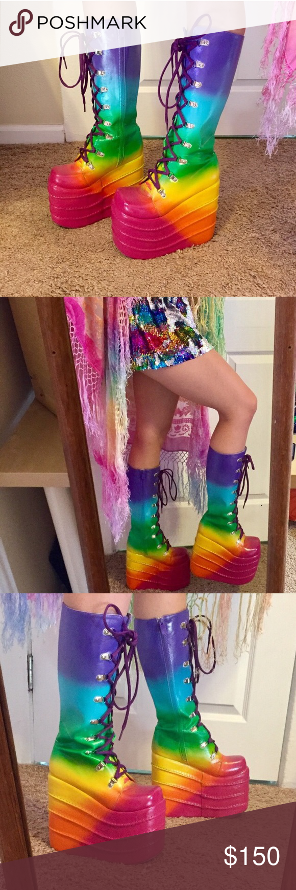 9e93906e0c9 Rainbow platform boots rave festival gogo shoes Gorgeous hand painted platform  boots! I painted these for myself for insomniac rave events. purple laces
