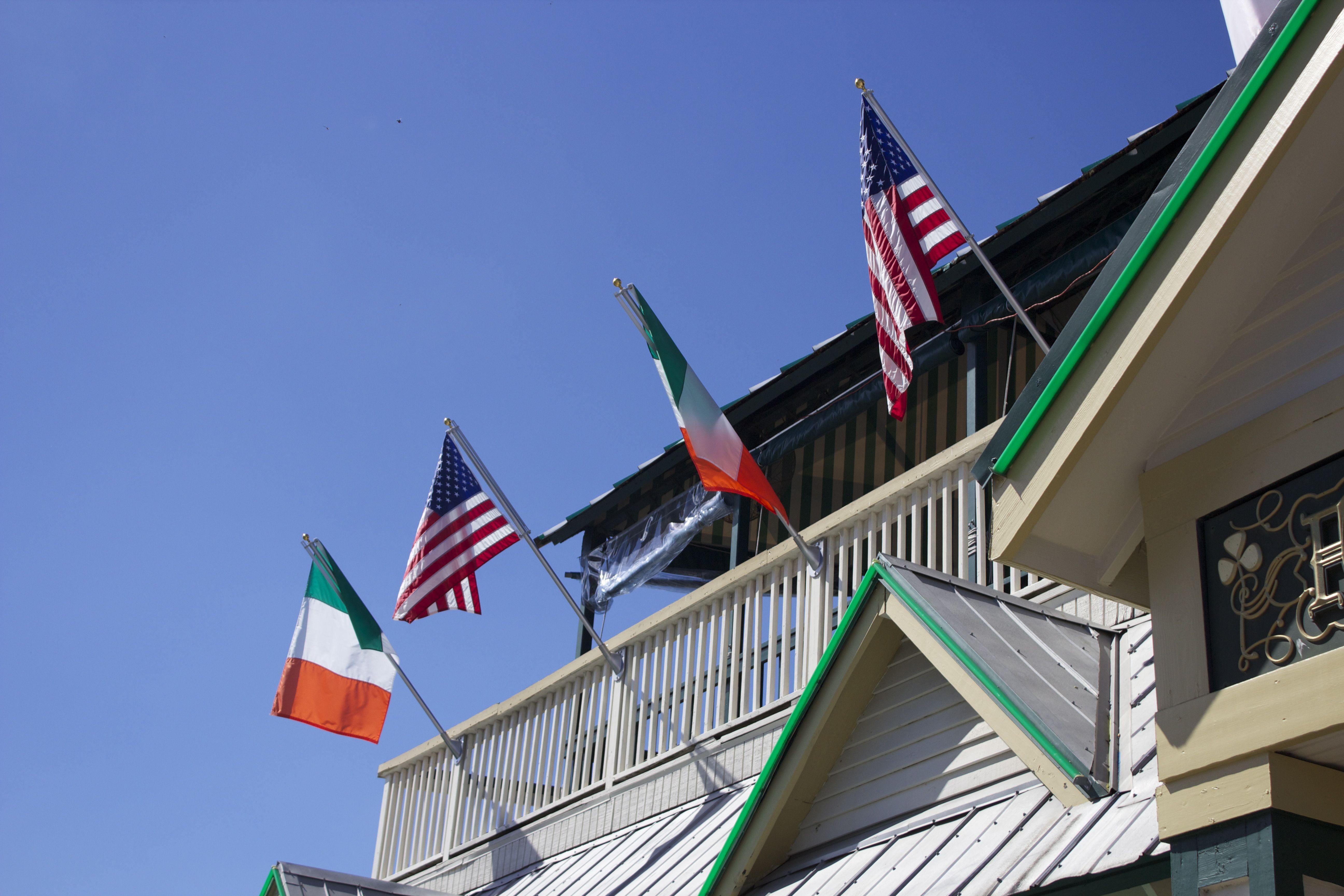 Irish and American flags of Irish Pub.