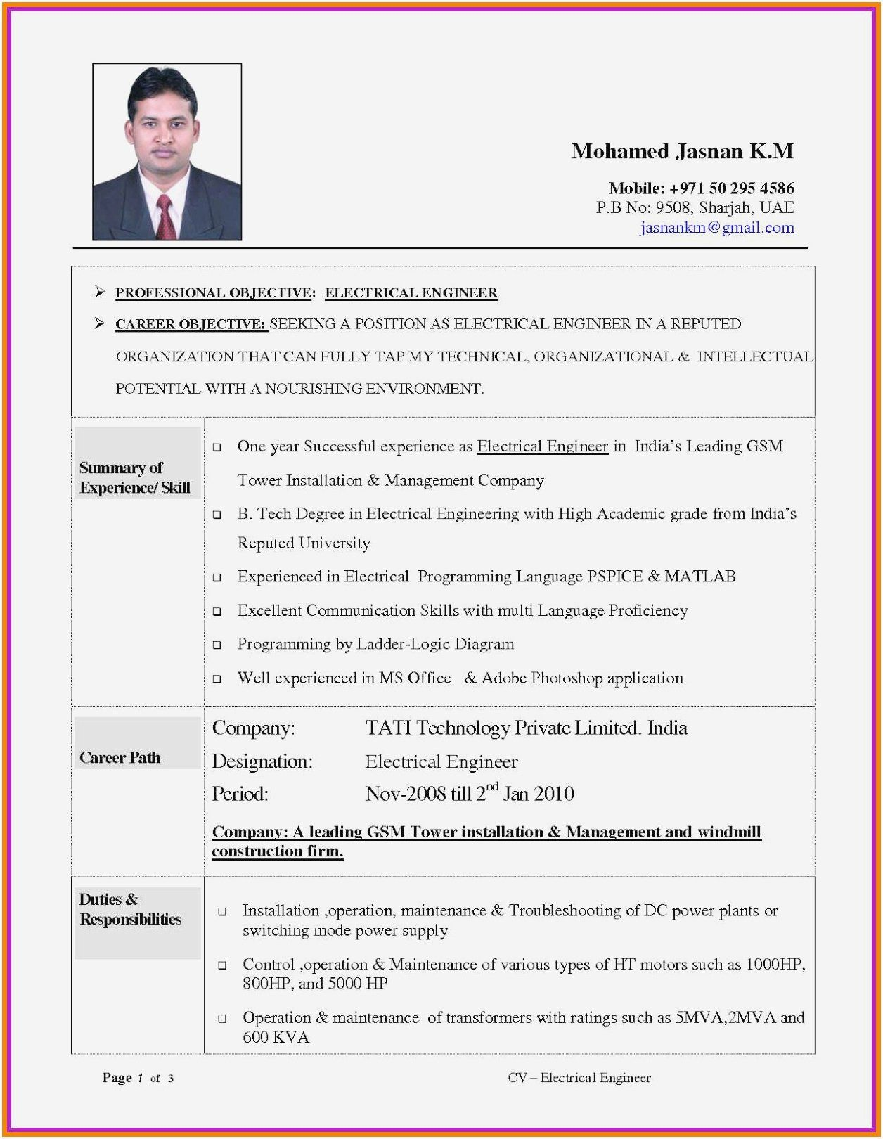 Electrical Engineering Resume Sample Luxury Resume Samples For Experienced Electrical Eng Engineering Resume Engineering Resume Templates Resume Format In Word
