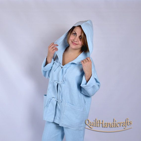 74b809990f253 linen for women Short jacket robe with hood High quality European linen  Made from 100