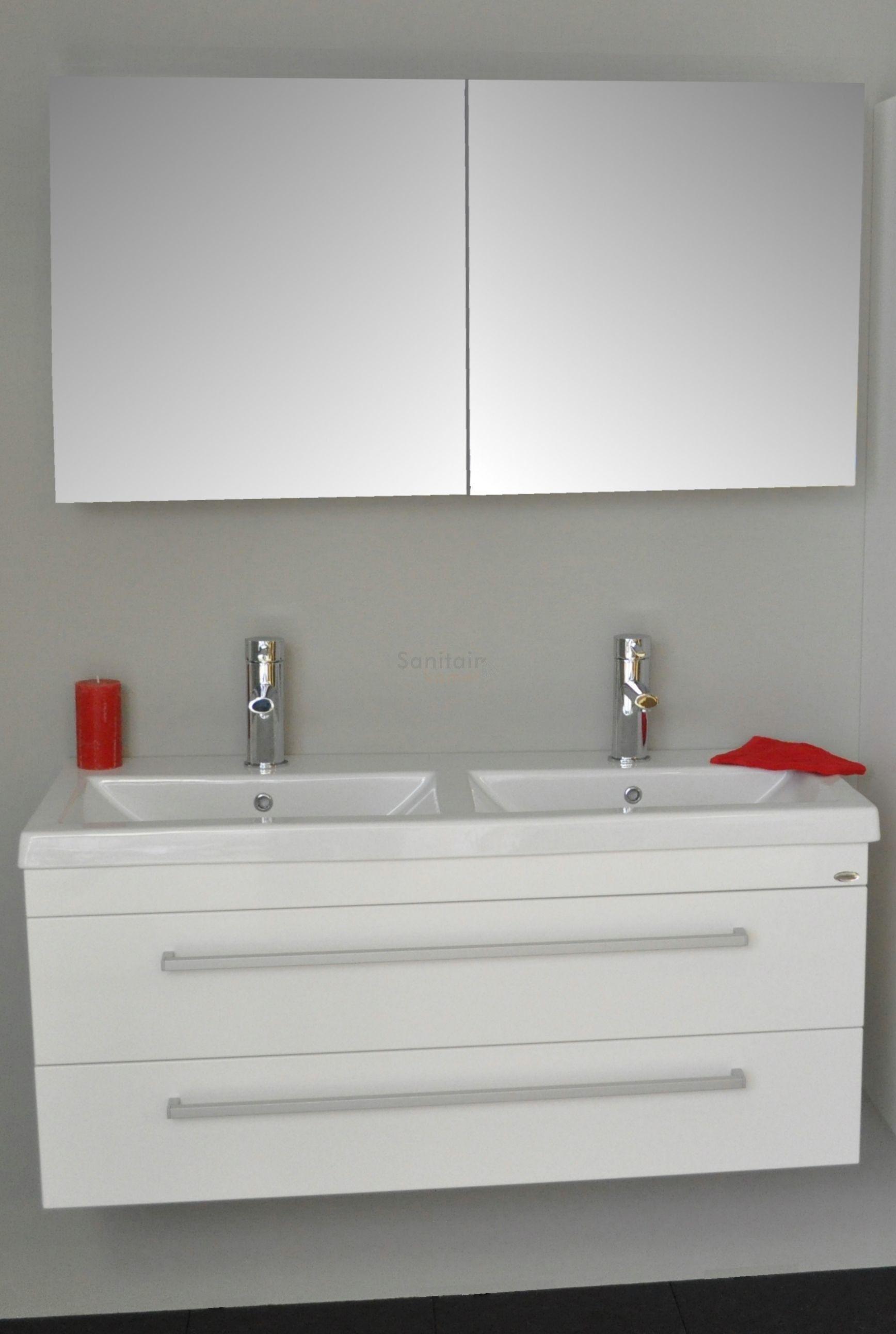 sanicare badmeubel q1 hoogglans wit 120 cm met spiegelkast