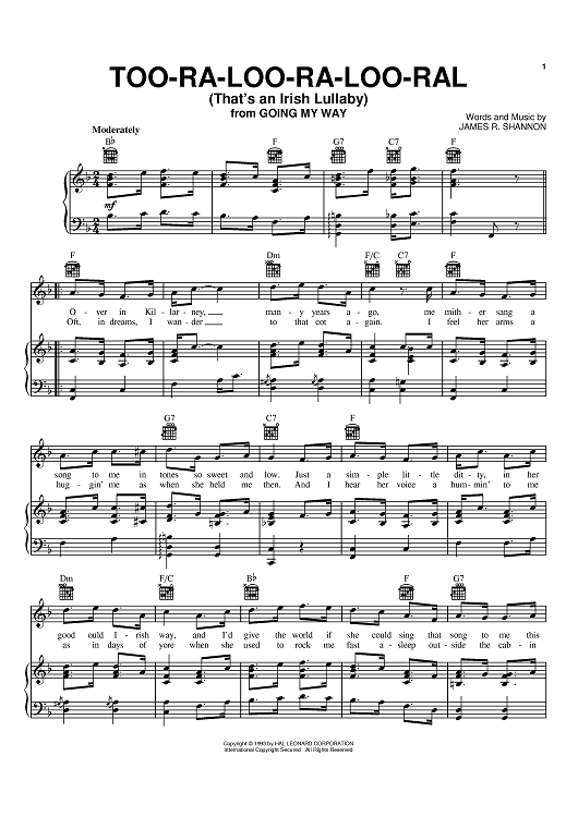Too Ra Loo Ra Loo Ral Thats An Irish Lullaby Sheet Music By Jr