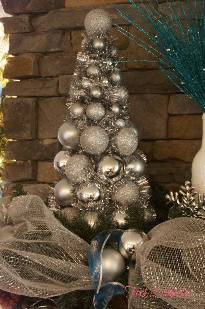 Here is the Christmas tree made with ornaments and garland.