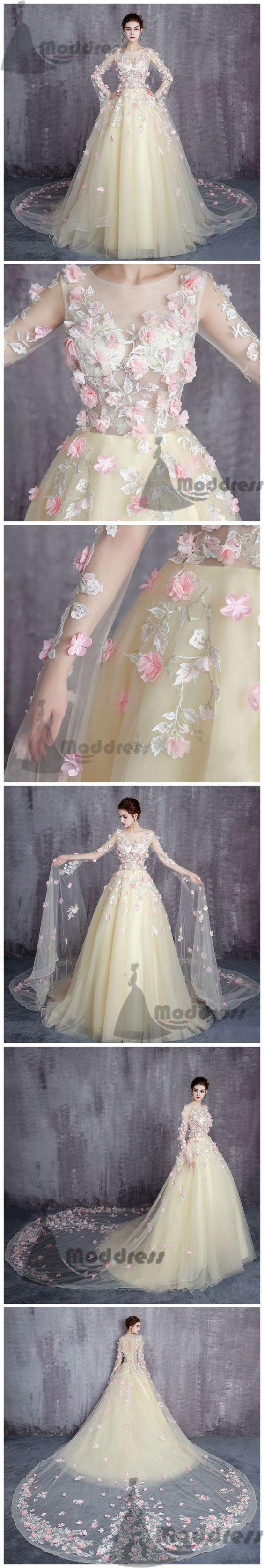 Elegant flowers wedding dress long sleeve tulle long prom dress with
