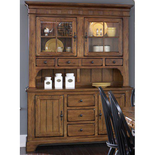 Beach cottages always need to be prepared to feed a crowd.  Weathered Oak Buffet and Hutch via The Beach Look. Click on the image to see more!