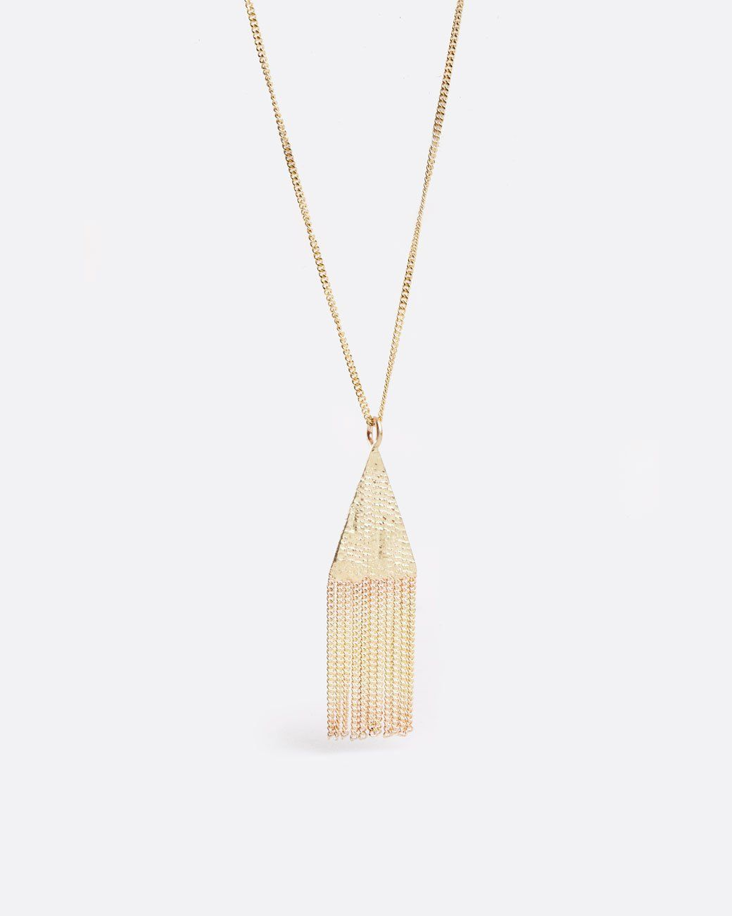 Yellow gold lil triangle chain pendant necklace products