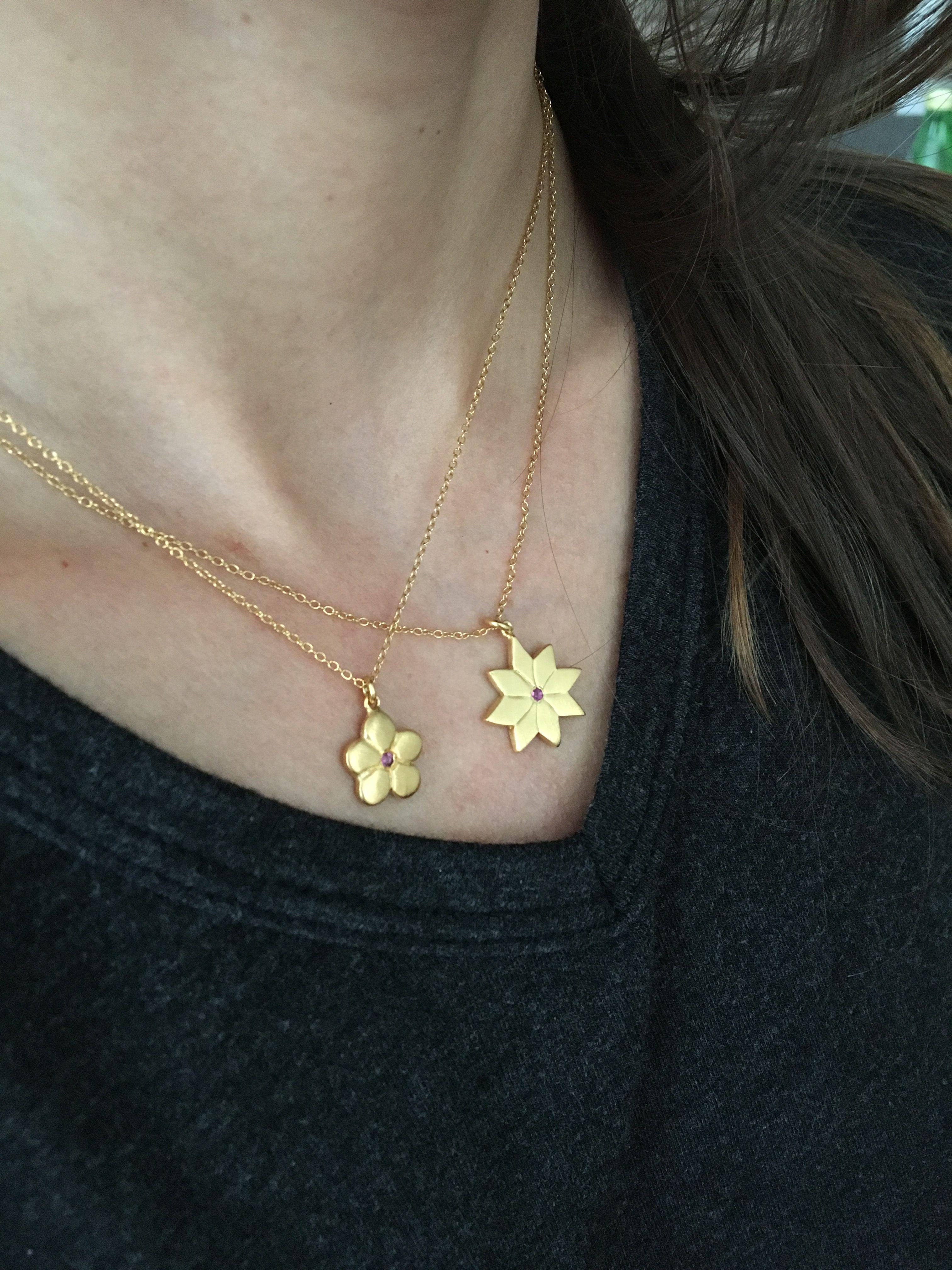 Gold English Daisy Necklace   Fraise Des Boise Floral Pendant ❖ 14K gold on LiliKleinJewelry.com