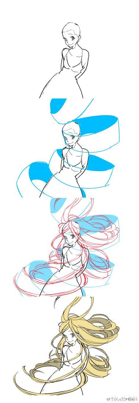 Hair. Motion. Female