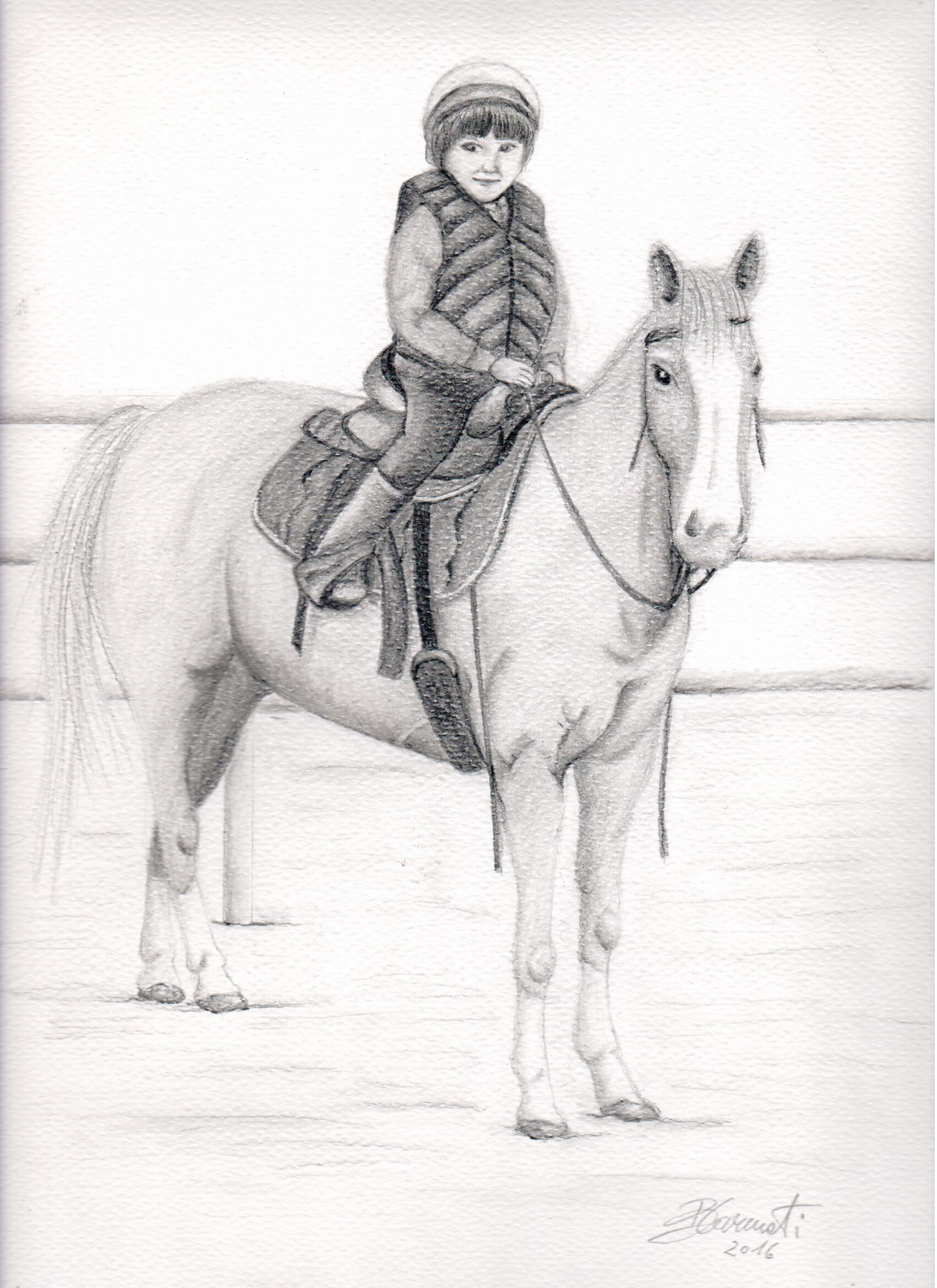 bimba a cavallo - matita su cartoncino