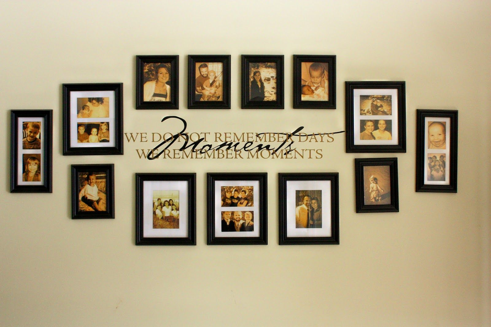 family picture wall photo collages our family wall collage hints life hacks pinterest. Black Bedroom Furniture Sets. Home Design Ideas