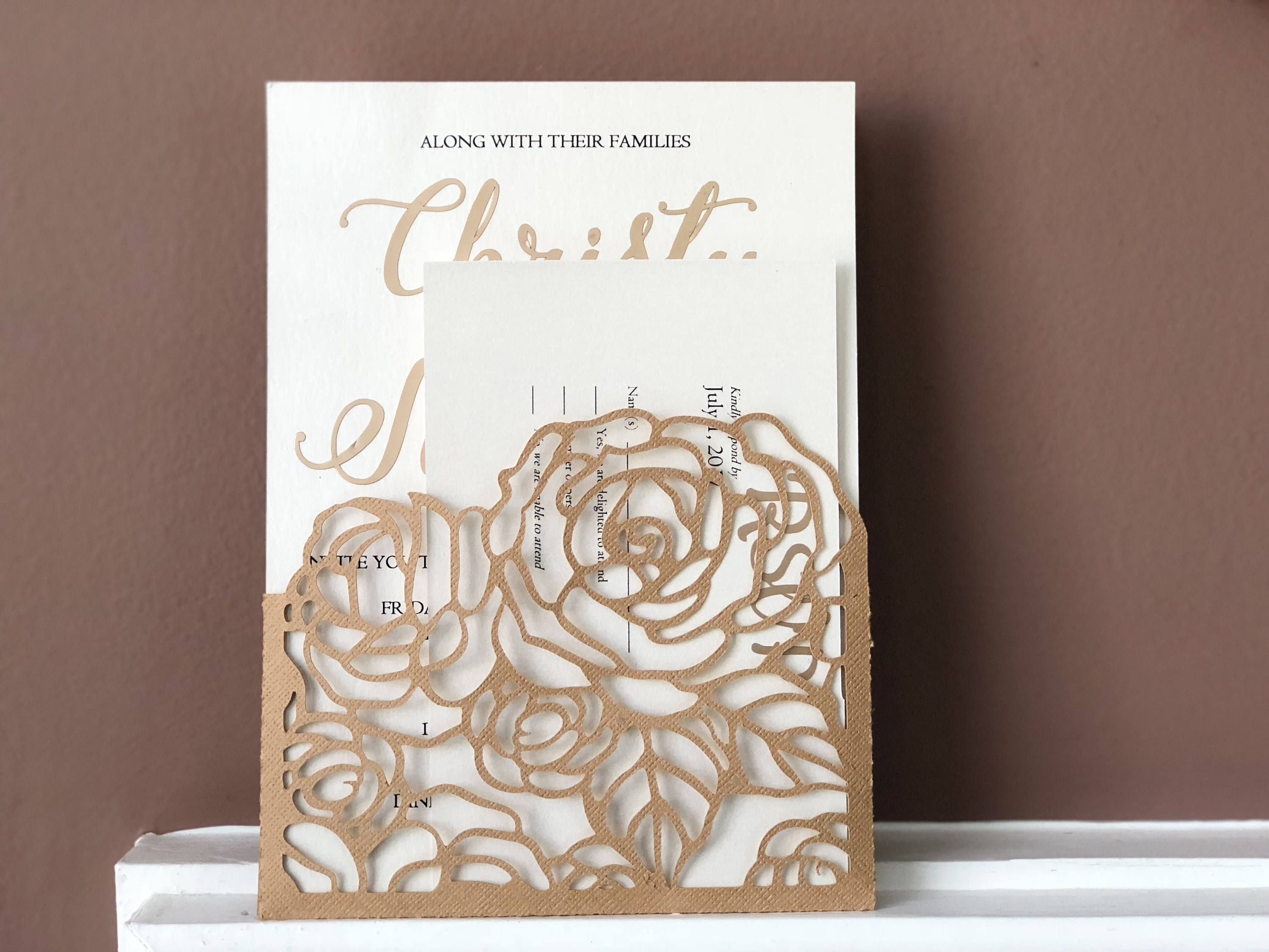 Peonies Wedding Invitation Pocket Envelope 5x7 Svg Template Quinceanera Card Fl Laser Cut