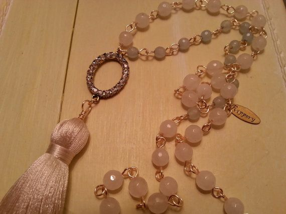 Boho Tassel Necklace Lagenlook Boho Rosary by villagefrippery