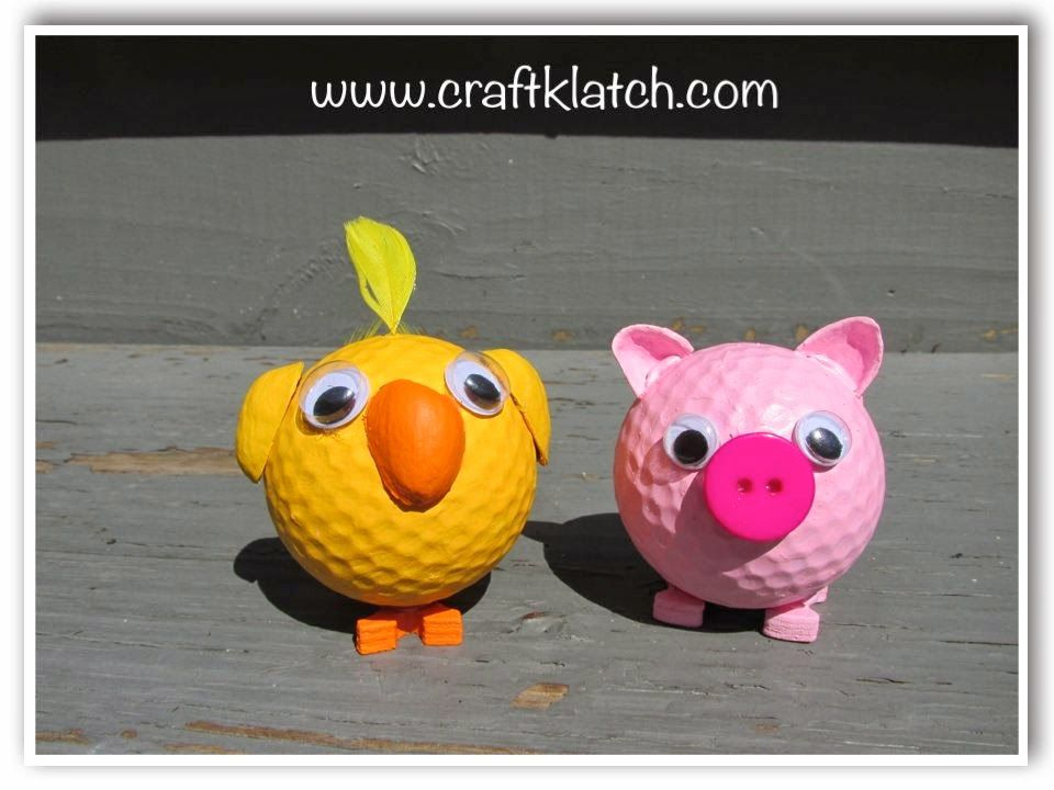 Pig, Pig Craft, Chick, Chick Craft, Golf Ball, Golf Balls, Recycle,  Recycling, Recycling Crafts, Recycle Old Golf Balls, Craft, Craft Ideas,.