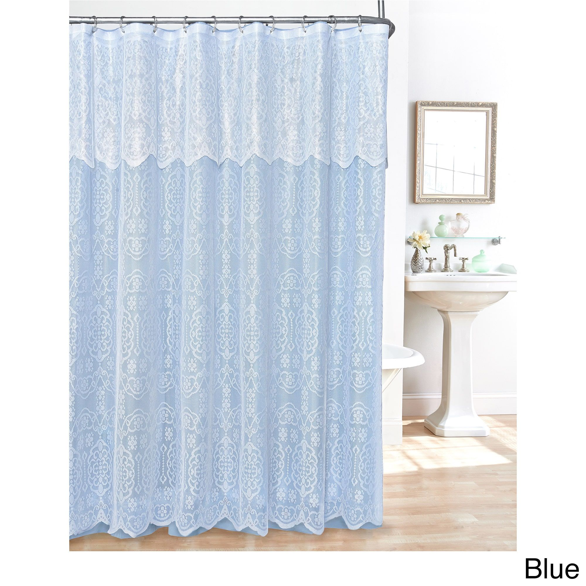 Madison lace shower curtain blue polyester solid color lace