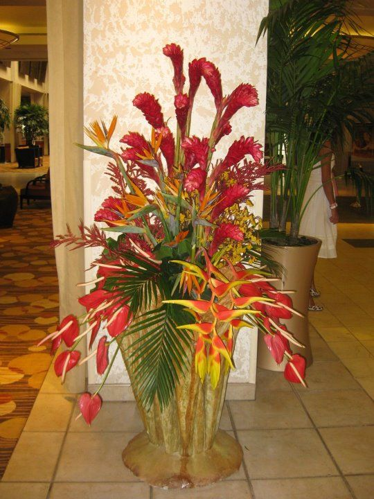 Hotel Foyer Flowers : Tropical arrangement in the hotel foyer featuring