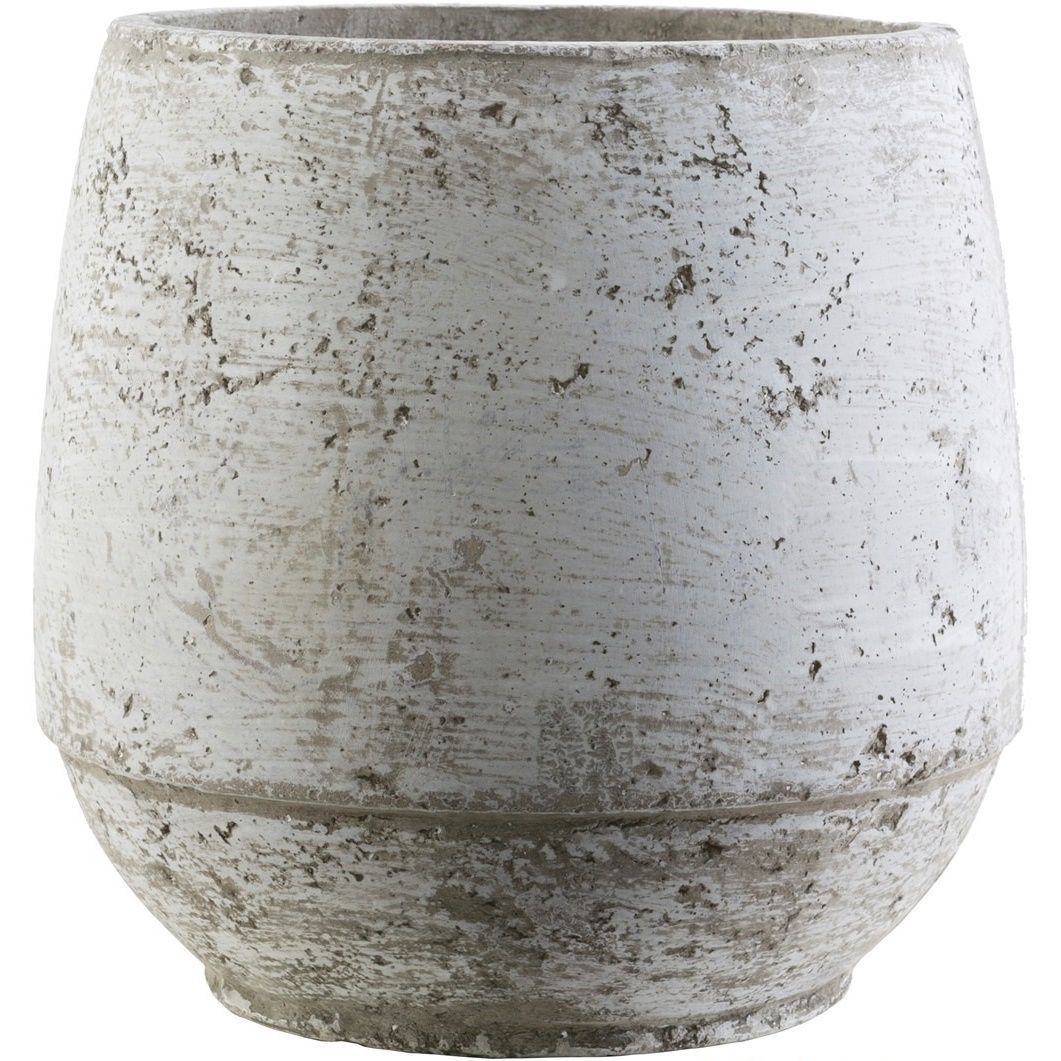 Grow your favorite house plants inside of these beautiful pots. Made of 100-percent cement, these pots feature around the rim and are perfect for all types of indoor/outdoor plants.