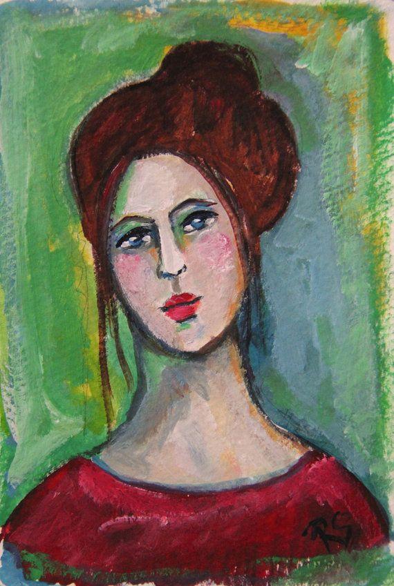 Chloe - Original Portrait Painting by Roberta Schmidt - ArtcyLucy on Etsy.com