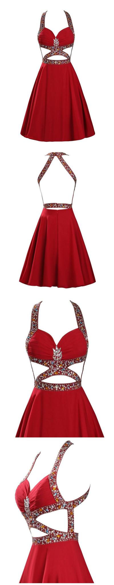 Vestidos Graduacion  Largo Sexy Backless Red Chiffon Beaded Sweet 16 Dresses Short Homecoming Dresses