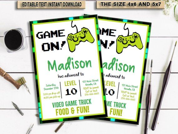Game Truck Invitation Video Game Party Printables Video Game Party