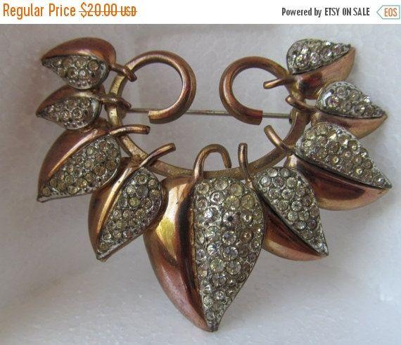 SALE Copper rhinestone floral brooch vintage 1950s by lolatrail