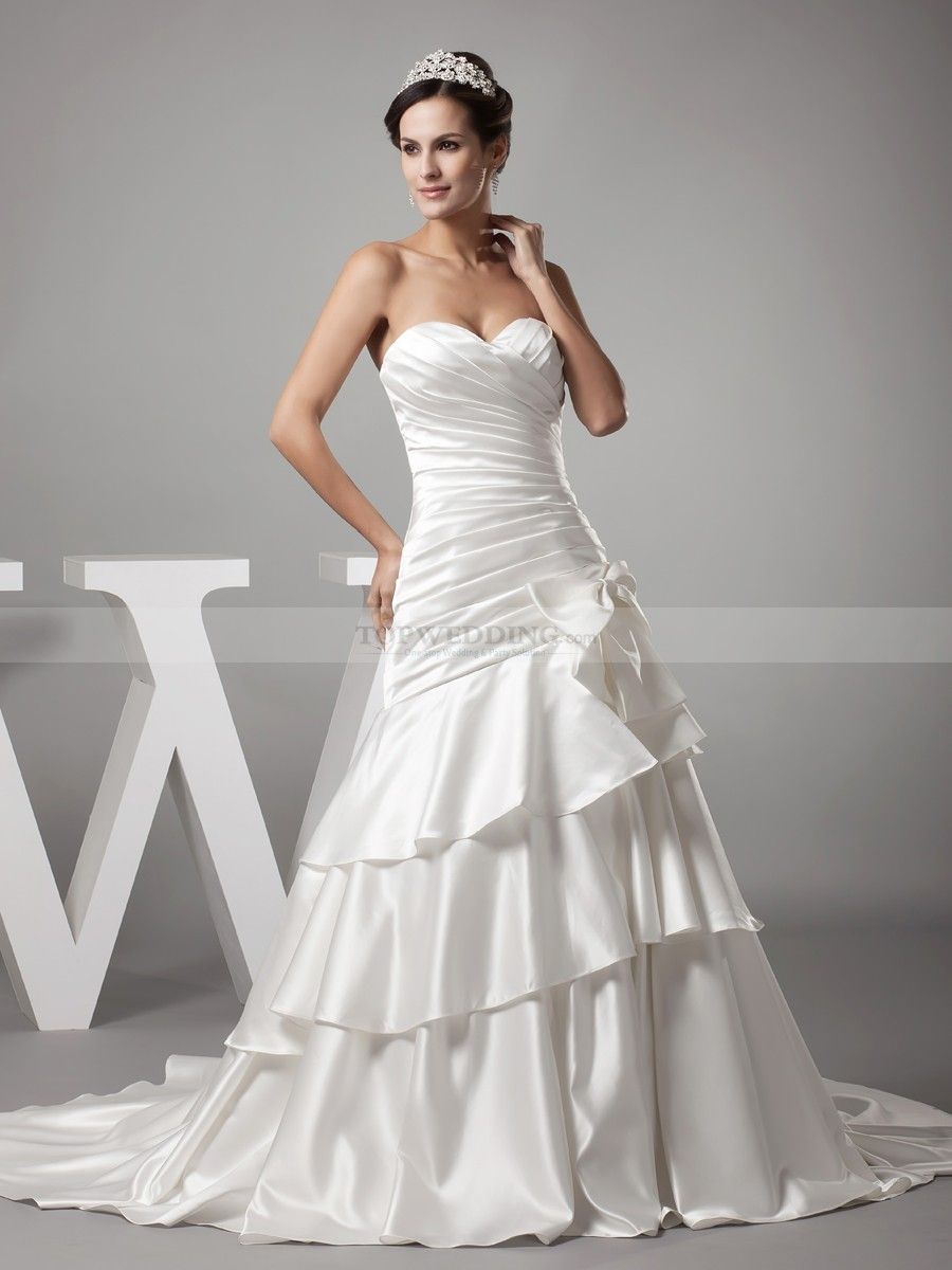 Strapless Sweetheart Luxury Satin Wedding Gown With Tiered Skirt